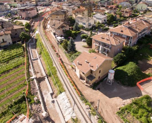 Video riprese aeree con drone per spot CARRON Interramento ferrovia Trento Malè a Lavis 2018 4