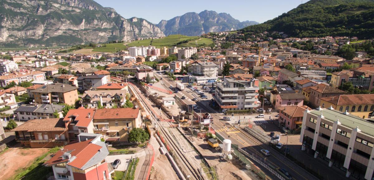 Video riprese aeree con drone per spot CARRON Interramento ferrovia Trento Malè a Lavis 2018 3