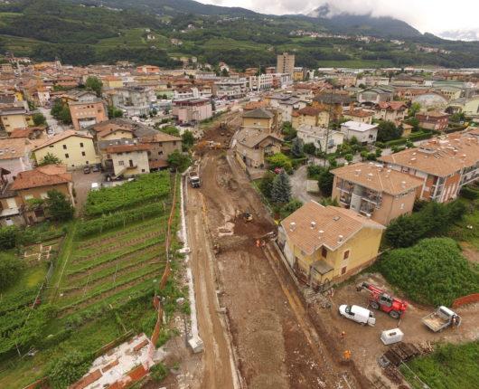 Video riprese aeree con drone per spot CARRON Interramento ferrovia Trento Malè a Lavis 2018 2