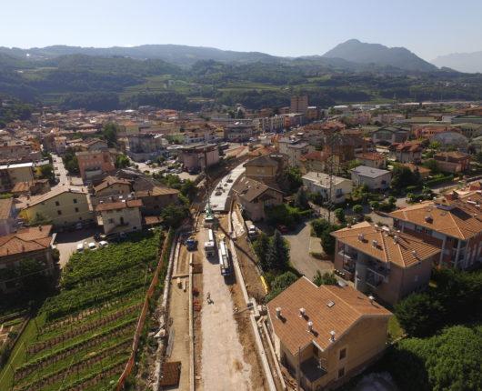 Video riprese aeree con drone per spot CARRON Interramento ferrovia Trento Malè a Lavis 2018